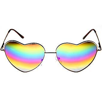 Женская металлические флэш-зеркало Радуга объектив сердца форма солнцезащитные очки кадр