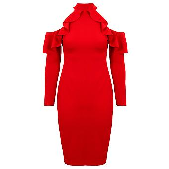 Ladies 3/4 Sleeve Ruffle Frill Bardot Off Shoulder Turtle Neck Bodycon Dress