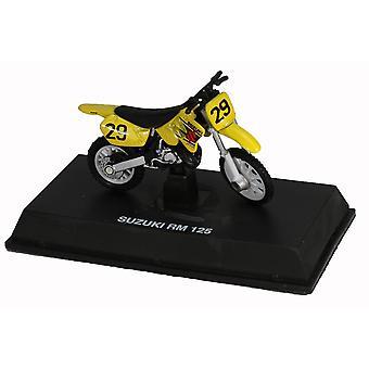 Die-Cast Yellow Suzuki RM 125 Dirt Bike, 1:32 Scale