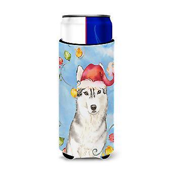 Christmas Lights Siberian Husky Michelob Ultra Hugger for slim cans