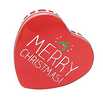 Merry Christmas Small Red Heart Shaped Gift Tin / Storage