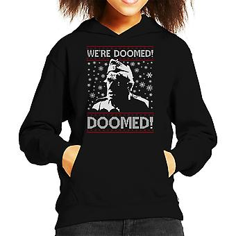 Dads Army Were Doomed Christmas Knit Pattern Kid's Hooded Sweatshirt