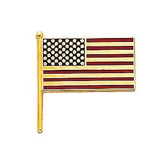 14K Yellow Gold American Flag Tie Tac
