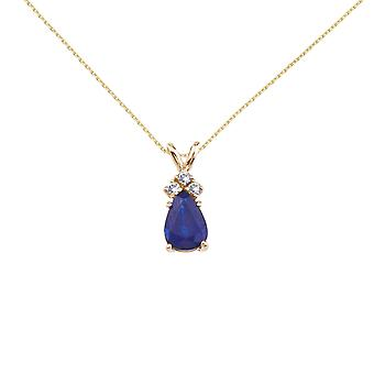 14K Yellow Gold Pear Shaped Sapphire and .05 ct Diamond Pendant and 18