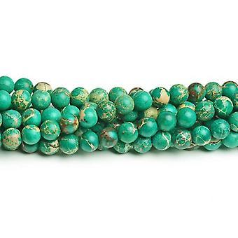 Strand 40+ Green Impression Jasper 8mm Dyed Plain Round Beads CB41812-3