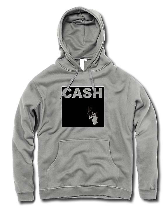 Mens Hoodie - Johnny Cash - Hurt - homme en noir