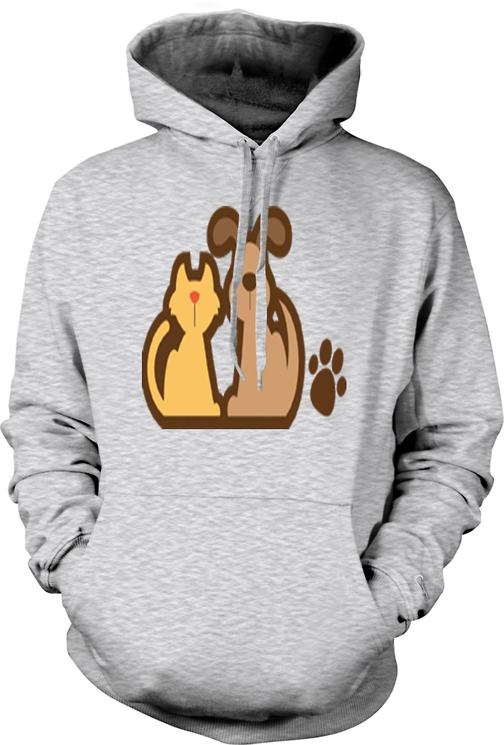 Mens Hoodie - Cat And Dog Cartoon Drawing