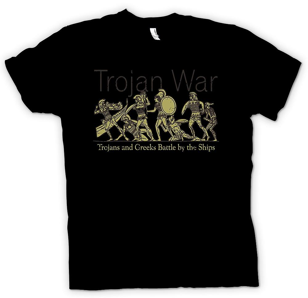 Womens T-shirt - Trojan War - Trojans and Greeks Battle By Ships