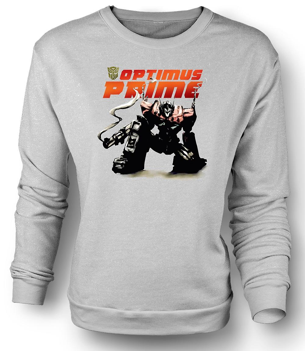 Mens Sweatshirt Transformers Optimus Prime Crouching