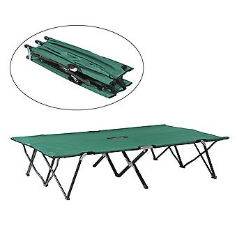 Outsunny Camping Folding Cot Outdoor Patio Sleeping Bed Travel Super Light Guest (Green)