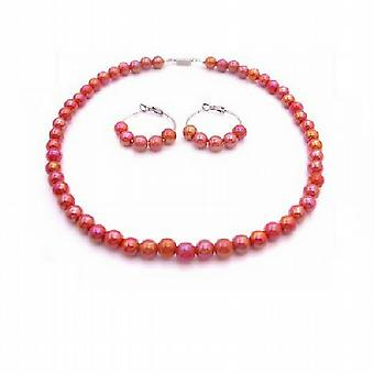 Girls Necklace Set Red Orange Beads Hoop Earrings Flower Girl Jewelry