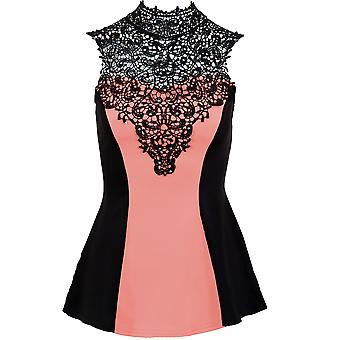 Ladies Sleeveless Crochet Studded Neck Contrast Tie Back Women's Flare Top