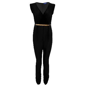 Dames mouw lage V hals Wrap Front opdagen gordel Women's Party Jumpsuit