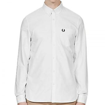 Fred Perry M3551 Clásico Oxford L/s Camisa Blanca