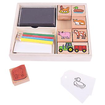 Bigjigs Toys Farm Stamp and Colour Set with Ink Pads Kids Arts Crafts