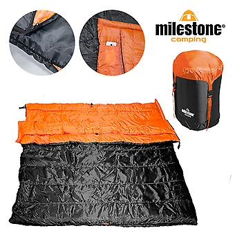 Milestone Envelope Double Sleeping Bag - Converts into 2 Singles Orange /Black