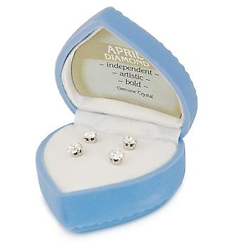 Eternal Collection April Birthstone Clear Crystal Silver Tone Stud Pierced Earrings Gift Set