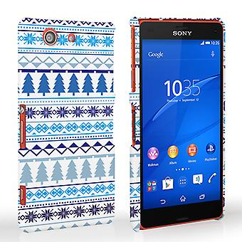 Caseflex Sony Xperia Z3 Compact Fairisle Christmas Tree Hard  - White and Blue