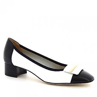 Leonardo Shoes Escarpins à talons bas faits à la main pour femme en cuir de veau bleu/blanc