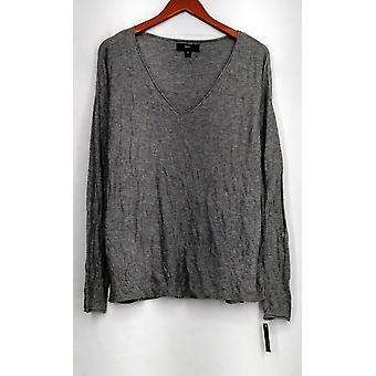Mossimo Top Long Sleeve Knit V-Neckline Pull Over Gray Womens