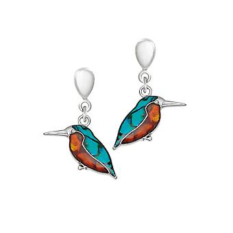 Eternal Collection Kingfisher Paua Shell Silver Tone Drop Clip On Earrings