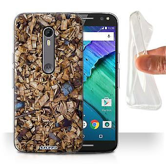 STUFF4 Gel/TPU Case/Cover for Motorola Moto X Style/Wood Chippings/Tree Bark