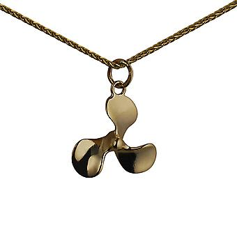 9ct Gold 17x20mm Propellor Pendant with a spiga Chain 24 inches