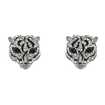 Clear Crystal and Black Enamel Panther Head Stud Earrings