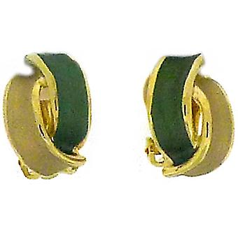 Clip On Earrings Store Green Tone  and  Gold Plated Overlapped Semi Hoop Clip On