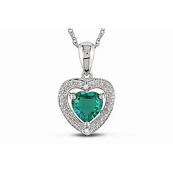 Affici Sterling Silver Pendant with Chain 18ct White Gold Plated ~ Heart Cut Emerald CZ Gem