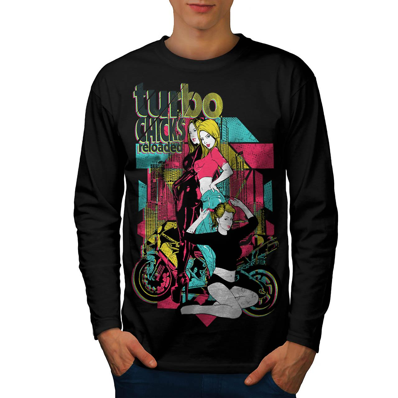 Turbo Chicks Cool Biker Men Black Long Sleeve T-shirt | Wellcoda