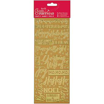 Papermania Create Christmas Outline Stickers-Gold Contemporary Christmas Sentiments PM818911