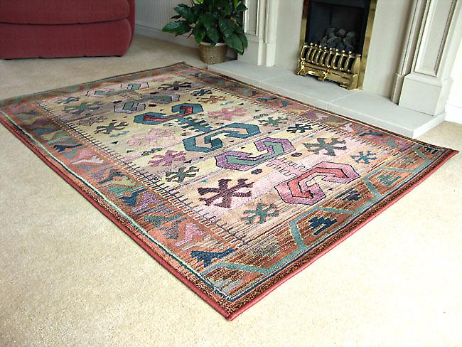 Gabbeh gabbeh-50c Beige ground with rust, red, green and blue Runner Rugs Traditional Rugs