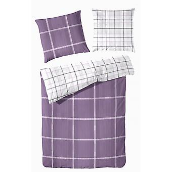 TAP precious flannel reversible bed linen checkered purple 155 x 220 cm