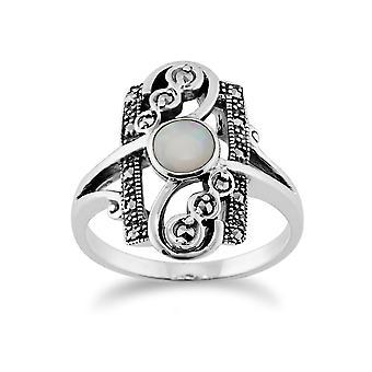 Gemondo argento 0,28 ct Opal Cabochon & 0,15 ct Marcasite Art Nouveau anello