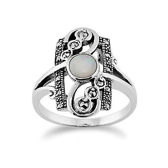 Gemondo srebro ct 0,28 Opal Cabochon & 0,15 ct markazytu Art Nouveau pierścień