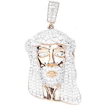 Premium Bling - 925 Sterling Silber JESUS Anhänger rose gold