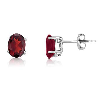 14k White Gold Oval Garnet Stud Earrings
