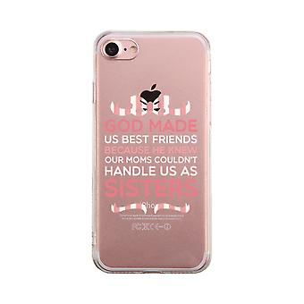 God Made Us Pink Transparent BFF Phone Case Cute Clear Phonecase