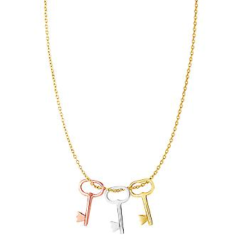 14k 3 Color Yellow White And Rose Gold Key Charms Necklace, 18