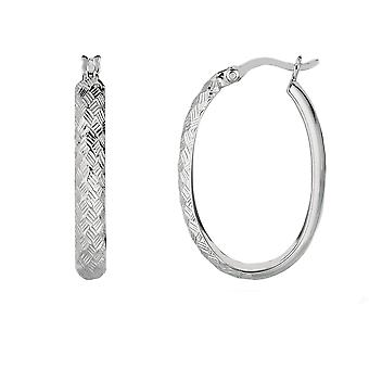 Sterling Silver Rhodium Shiny Diamond Cut Finish Oval Hoop Earrings, Diameter 25mm