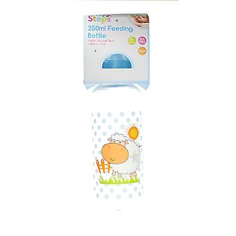 First Steps 250ml Baby Feeding Bottle With Silicone Teat & Blue Lid - Sheep
