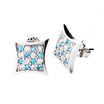Sterling 925 Silver MICRO PAVE earrings - CHECK 10 mm