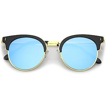 Moderne halv rammen rundt farget speil Flat linsen Horn Rimmed solbriller 49mm