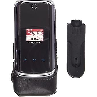Wireless Solutions Half Clip On Leather Case For Motorola KRZR K1m