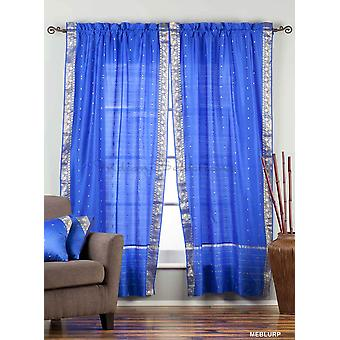 Enchanting Blue Rod Pocket  Sheer Sari Curtain / Drape / Panel  - Pair
