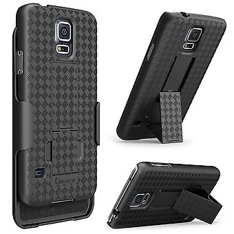 Galaxy S5 Case, i-Blason Transformer Slim Hard Shell Case Holster Combo with Kickstand and Locking Belt Clip-Black