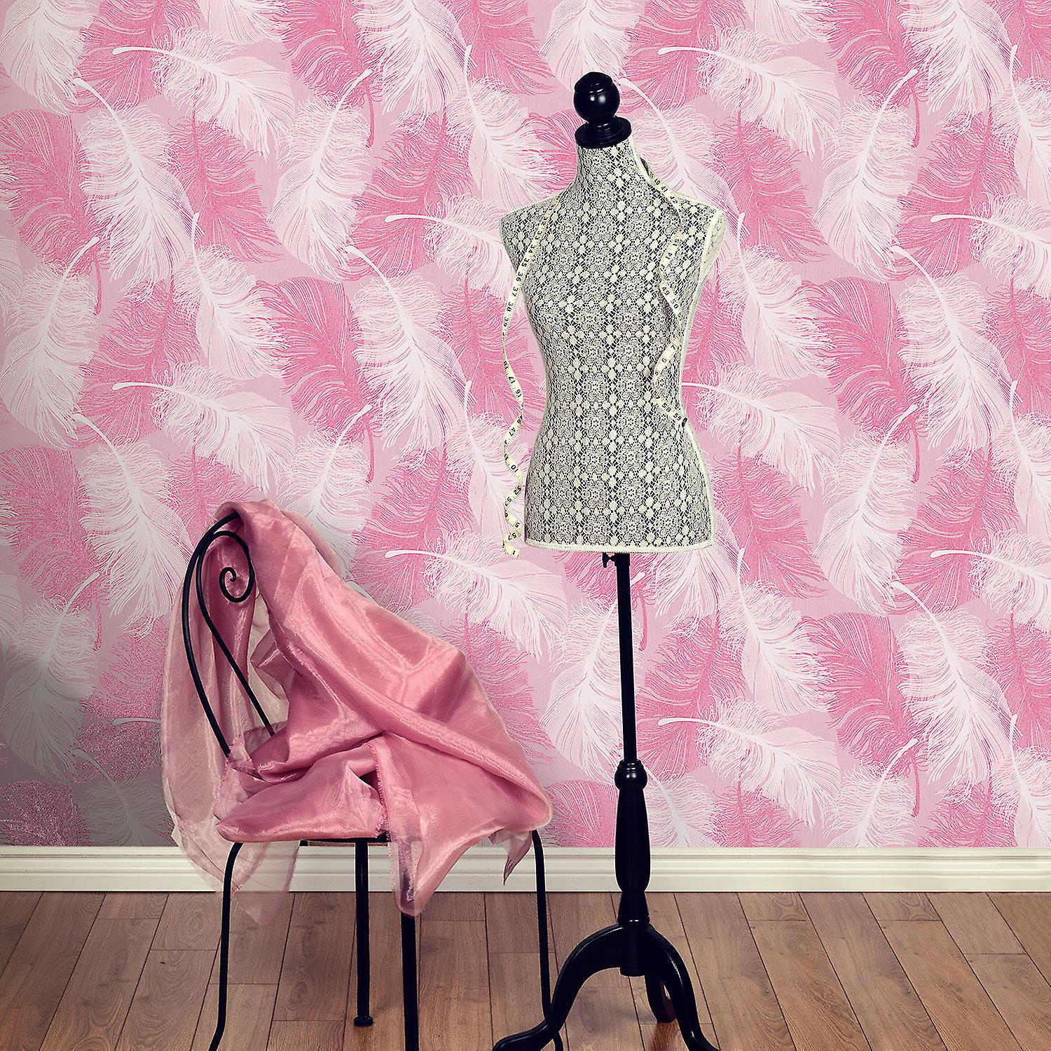 Feather Wallpaper Quill Modern Glitter Effect Textured Vinyl Pink White Coloroll