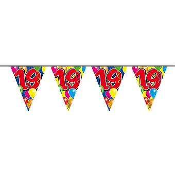 Pennant chain 10 m number 19 years birthday decoration party Garland