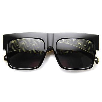 High Fashion Metal Chain Arm Flat Top Aviator Sunglasses